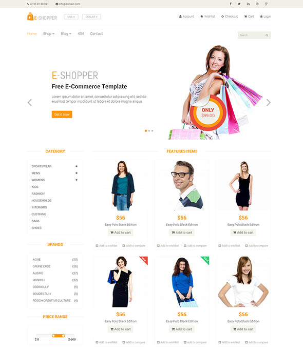 E-Shopper – Best Ecommerce HTML Template – Fastcode.Space
