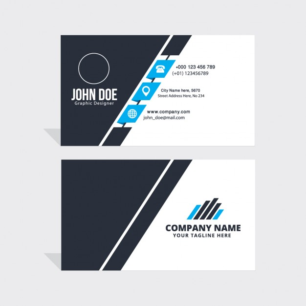 Simple blue black white business card fastcode simple blue black white business card reheart Image collections